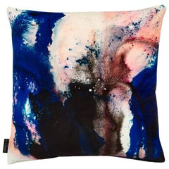 Modern Pink and Blue Cotton Velvet Cushion by 17 Patterns
