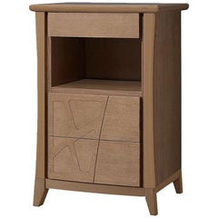Motivi Three-Drawer Nightstand with Open Compartment on Four Legs