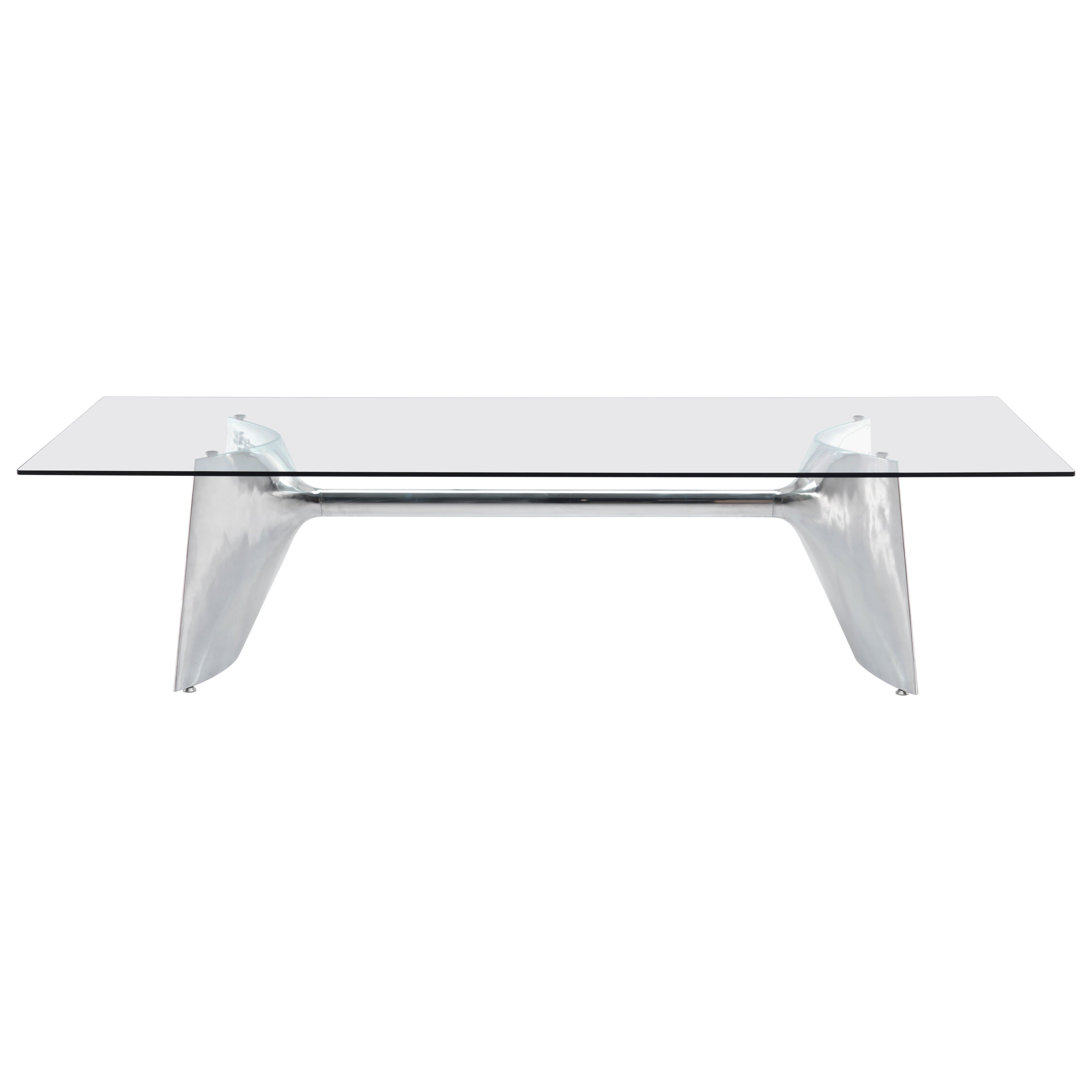 Baleri Italia Fratino High Rectangular Aluminum Table with Glass by Jeff Miller
