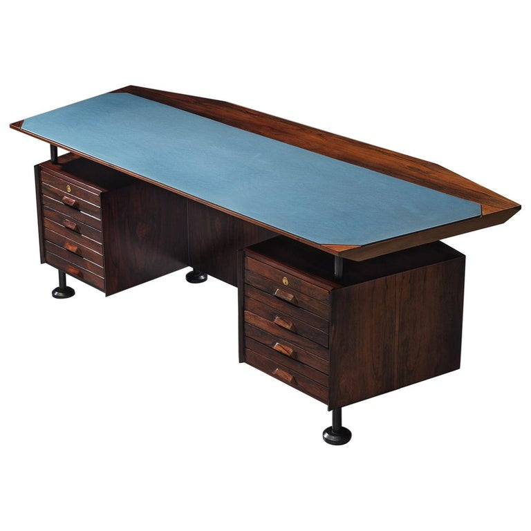 Rosewood Desk with Blue Leatherette Inlay