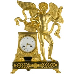 French Directoire Clock with Amor, Taigans À Paris, circa 1790-1800