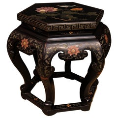 French Lacquered and Painted Wooden Chinoiserie Side Table from 20th Century