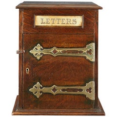 Neat Oak and Brass Victorian Letter Box, circa 1880