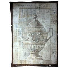Mid 20th Century French Hand-Painted Trompe L'oeil Theatre Canvas Linen Backdrop