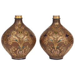 Pair of Zsolnay Persian Floral Design Art Pottery Vases, circa 1890