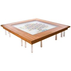 Contemporary Colored Mosaiced Coffee Table Cobogó in Wood, Acrylic, Glass, Resin