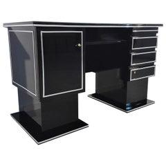 Narrow Bauhaus Desk in High Gloss Black