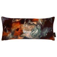 Modern Rust Cloudbusting Pattern Velvet Lumbar Cushion by 17 Patterns