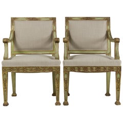 Pair of Italian Gilded Armchairs