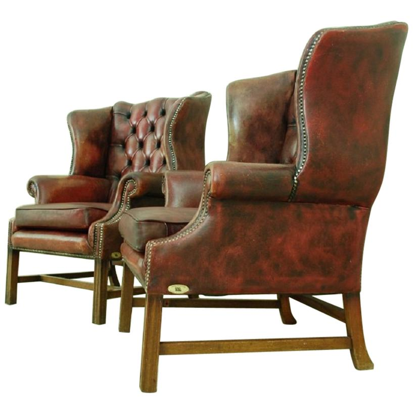 Ordinaire Set Of Two Original Chesterfield Chairs For Sale