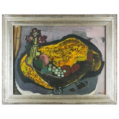 Carl Busch, Still Life Painting, Oil on Paper, 1952