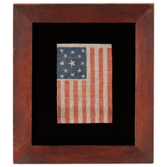 13 Stars in a Medallion Pattern on an Antique American Parade Flag