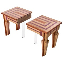 Contemporary Just Contrast Side Table in Mixed Woods and Acrylic