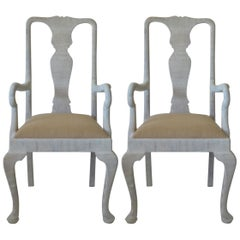 Pair of Antique Gustavian Style Urn Back Carvers or Armchairs, English, 1920s
