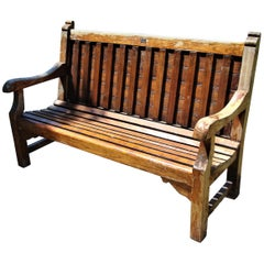 Early 20th Century Teak Ship's Bench from HMS Defiance