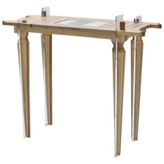 Contemporary Small Just Contrast Console in Mixed Woods and Acrylic