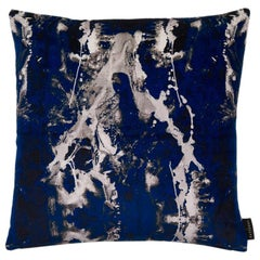 Modern Blotto Navy Cotton Velvet Cushion by 17 Patterns