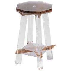 Contemporary Up]Side[Down Stool in Nut Wood and Acrylic