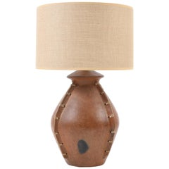 Large Terracotta and Rattan African Lamp