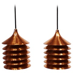 Pair of Copper Pendants of Danish Design from the 1960s