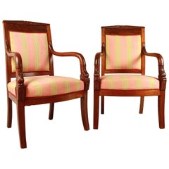 Pair of Empire Mahogany Fauteuils, in the Manner of Pierre Bellange