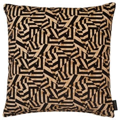 Geometric Dazzle Antique Gold and Black Cotton Velvet Cushion by 17 Patterns