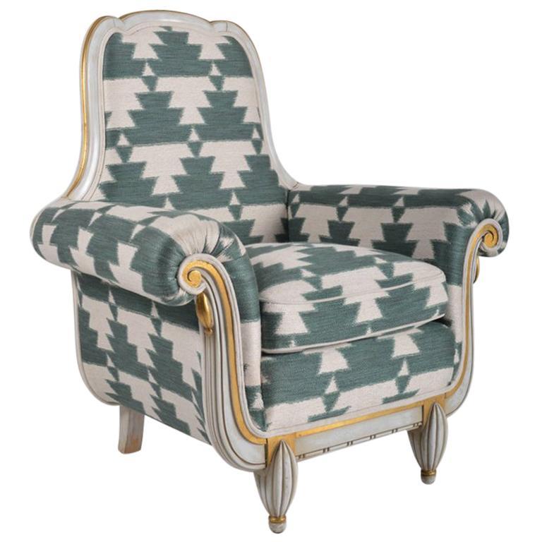 Belgian 1940s Painted Art Deco Armchair