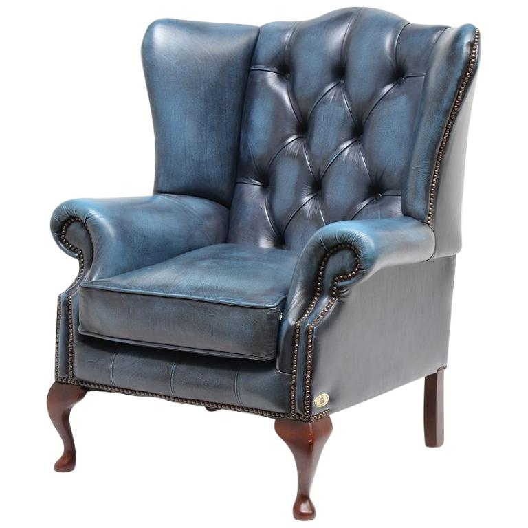 Chesterfield High Back Wingchair in Antique Blue Leather For Sale - Chesterfield High Back Wingchair In Antique Blue Leather For Sale At
