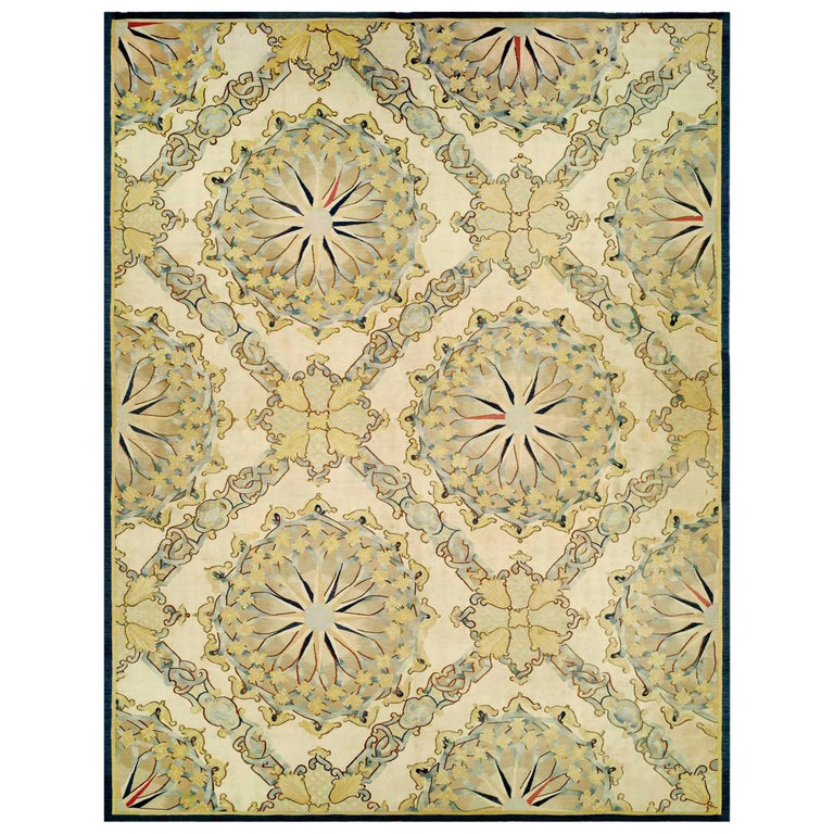 Antique French Aubusson Fragment Carpet