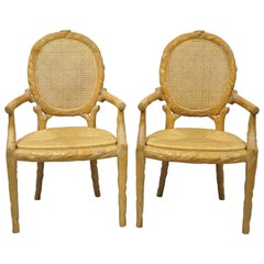 Faux Bois Branch Form Cane Back Rush Seat Carved Wood Twig Armchairs a Pair