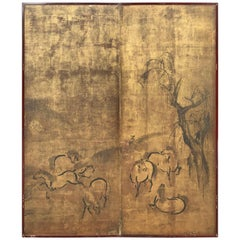 Japanese Antique Ancient Horses Two-Panel Gold Screen, Edo Period, 1800