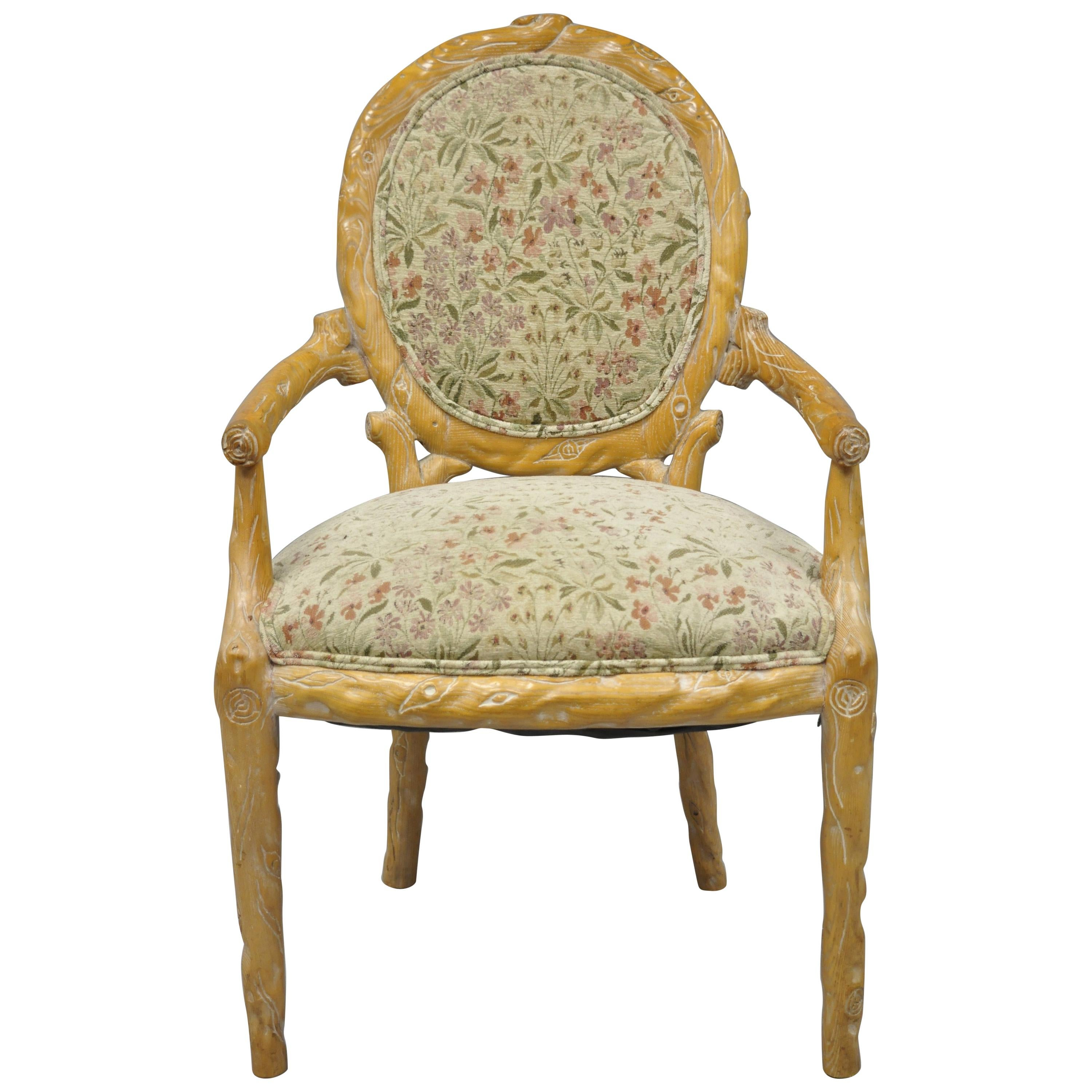 Faux Bois Branch Form Carved Wood Upholstered Back Chair Twig Dining  Armchair For Sale