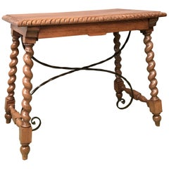 19th Spanish Farm Table with Iron Stretchers, Hand-Carved Top and Drawer