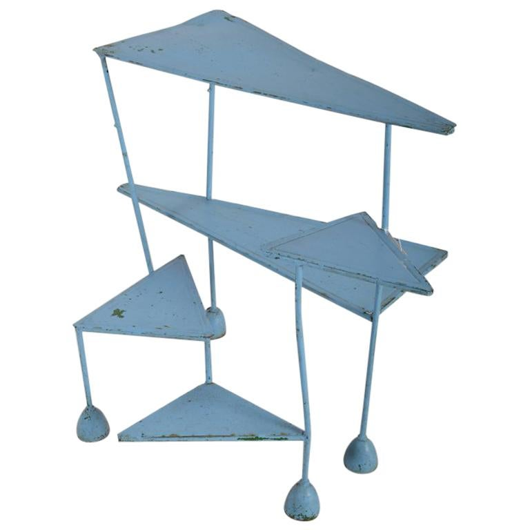 French 1960s Blue Painted Polymorph Side Table