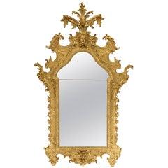 Italian 18th Century Baroque Period Giltwood Mirror