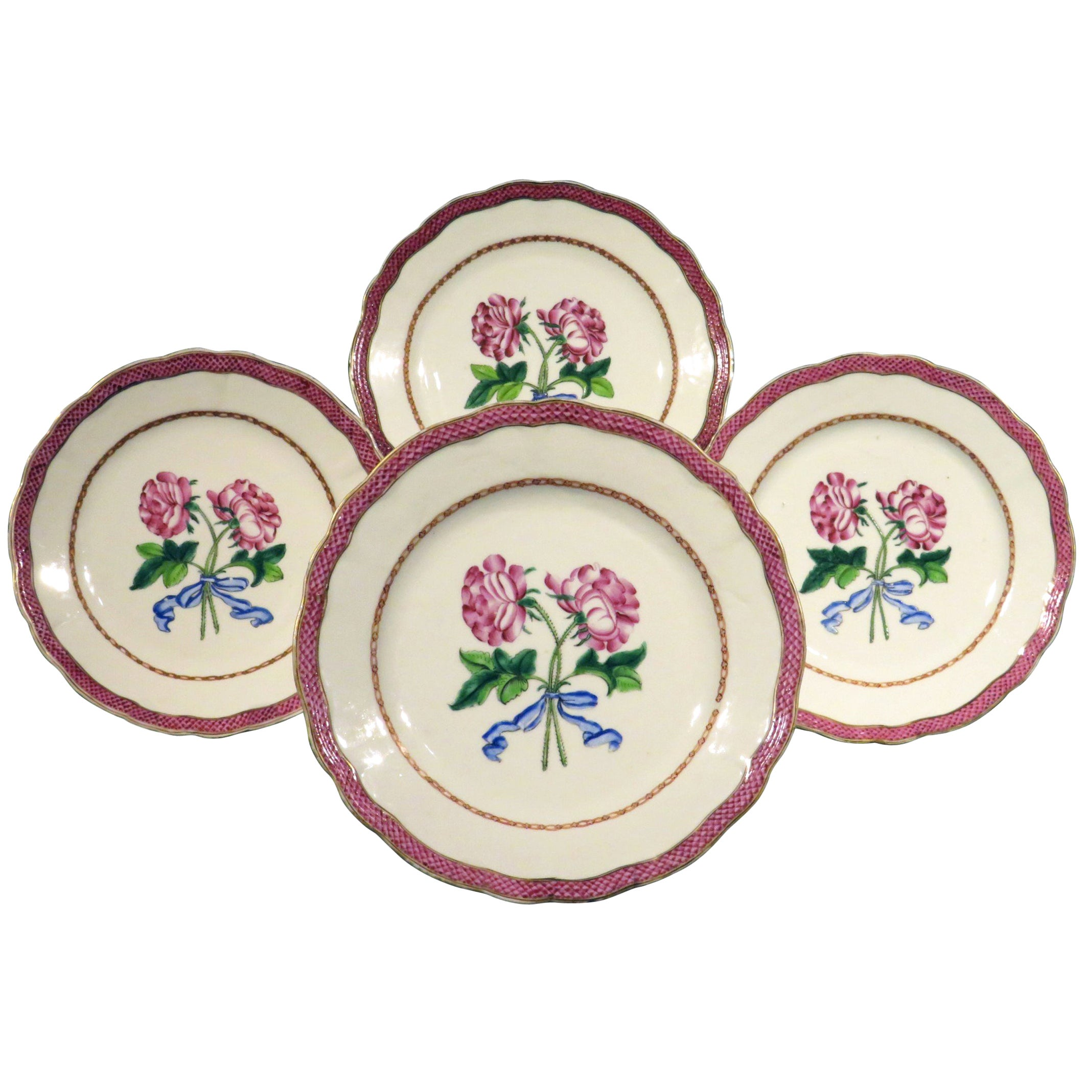 Four Chinese Export Famille Rose Botanical Plates, Qianlong Period, (1736-1795)