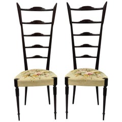 Pair of Paolo Buffa Chiavari Hall Side Chairs Mahogany High Labber Back