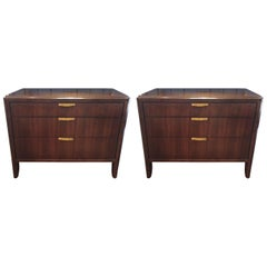 Large Handsome Pair of Dark Walnut Nightstands by Barbara Barry