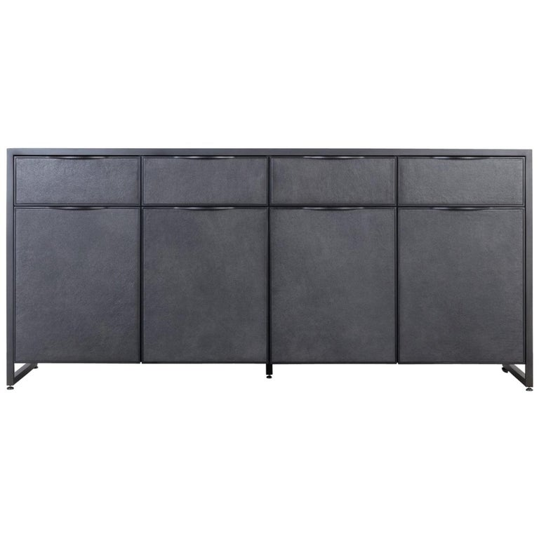 Cairns Credenza by Uhuru Design, Blackened Steel and Upholstered Leather