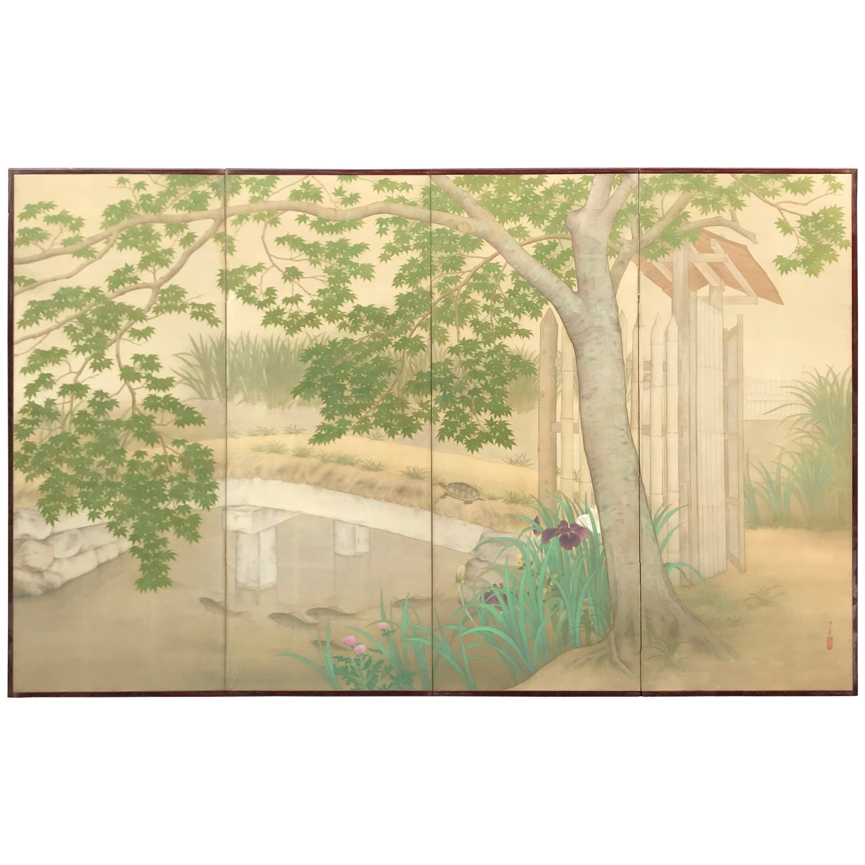 Japanese Garden Screen with Koi, Iris, & Turtles, Four-Panel Taisho Period, Tae