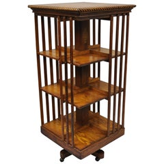 Danner Oak Revolving Lawyers Bookcase Stand Three-Tier Mission Arts & Crafts