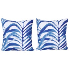 Pair of Blue and White Linen Pillows