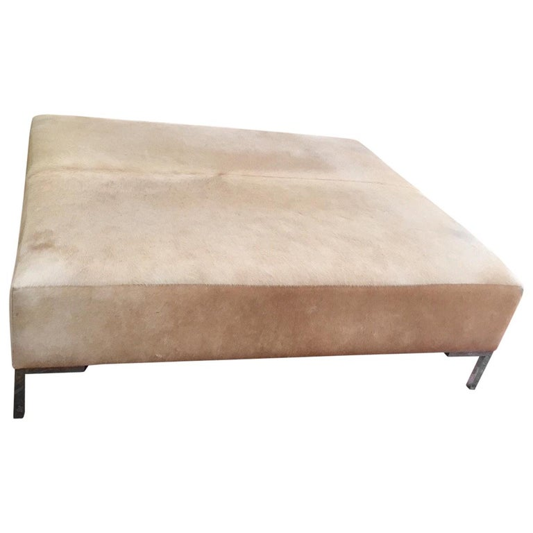 Super Cool Monumental Cowhide Ottoman Coffee Table For