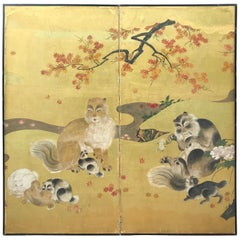 Japanese Antique Edo Cats Two Panel Gold Screen, 19th Century