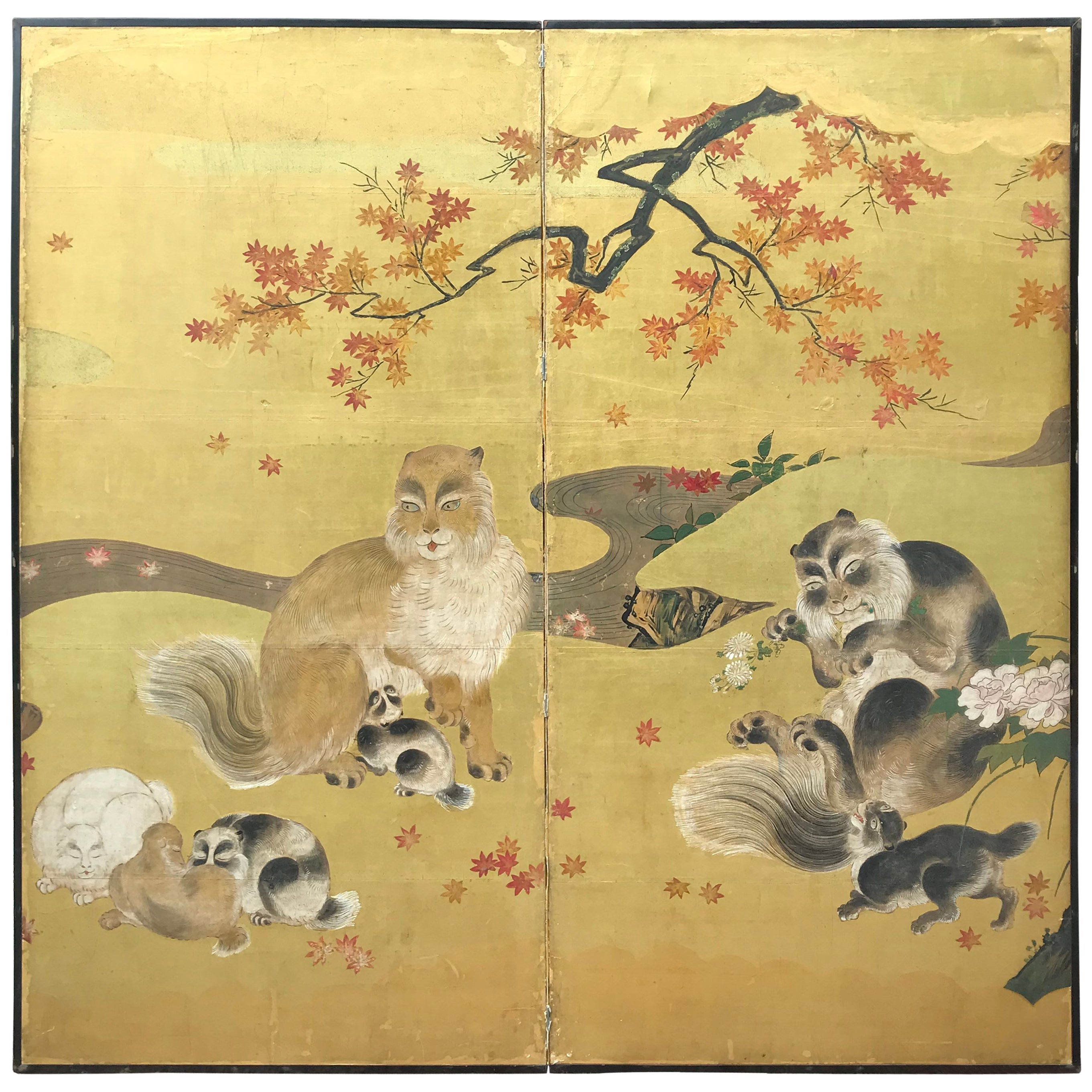 Japanese Antique Edo Cats Two Panel Gold Screen