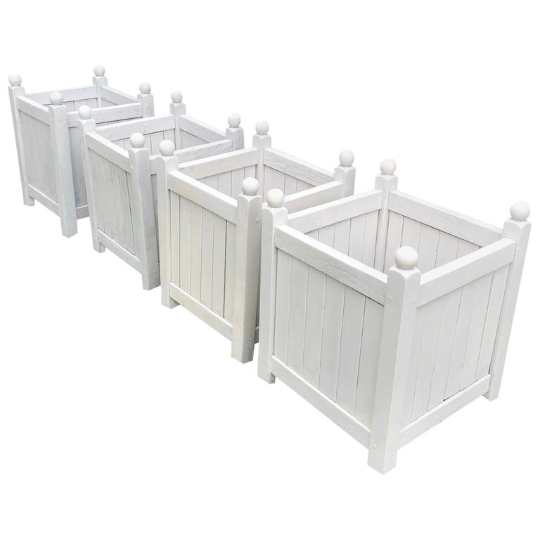 Near Set of Four French Painted Hardwood Versailles Planters