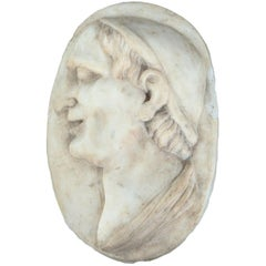 18th Century Oval Marble Profile Bust Plaque