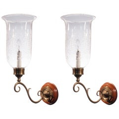 Pair of 19th Century Etched Hurricane Shade Wall Sconces