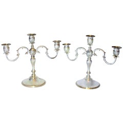 Asprey & Co - Sterling Silver Pair of Candlelaras, London 1961