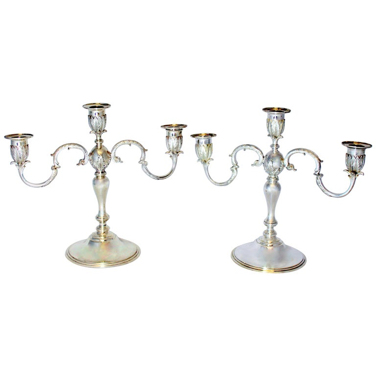 Asprey & Co - Sterling Silver Pair of Candlelaras, London 1961 For Sale